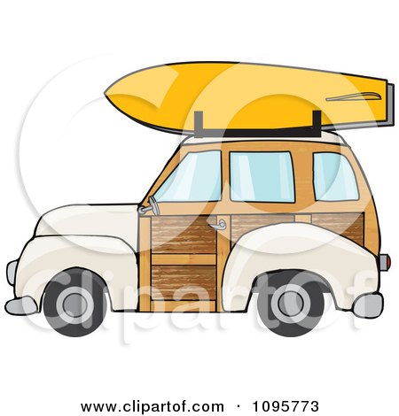 Clipart Beige Woodie Station Wagon With A Surfboard On Top - Royalty Free Vector Illustration by djart