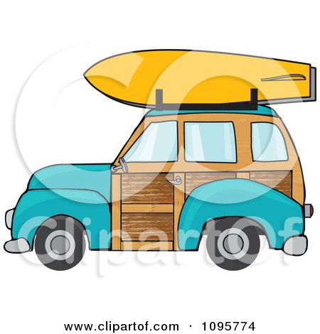 Clipart Turquoise Woodie Station Wagon With A Surfboard On Top - Royalty Free Vector Illustration by djart
