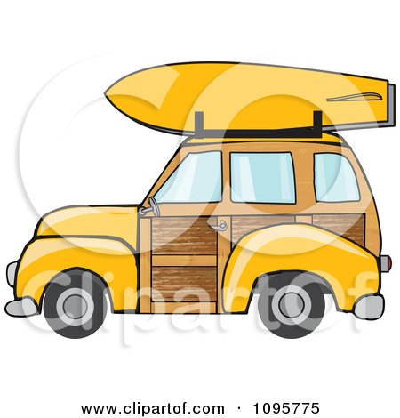 Clipart Yellow Woodie Station Wagon With A Surfboard On Top - Royalty Free Vector Illustration by djart