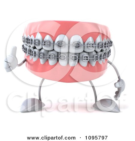 Clipart 3d Thumb Up Metal Mouth Teeth Character With Braces 1 - Royalty Free CGI Illustration by Julos