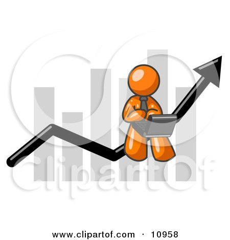 Orange Man Using a Laptop Computer, Riding the Increasing Arrow Line on a Business Chart Graph Posters, Art Prints