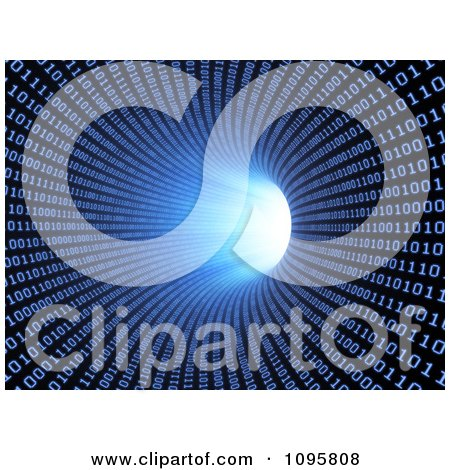 Clipart 3d Blue Binary Tunnel Vortex With A Bright Light At The End - Royalty Free CGI Illustration by Mopic