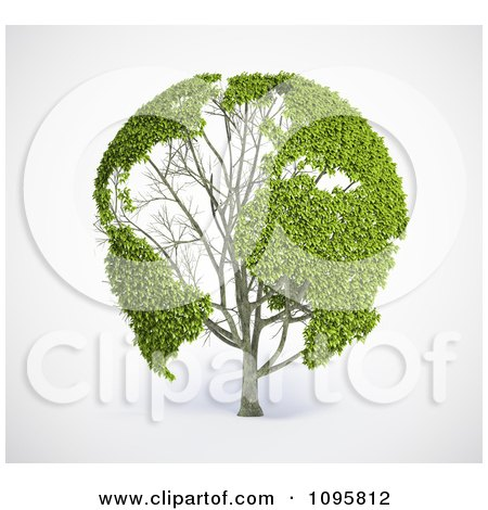 Clipart 3d Green World Map Tree With Leafy Continents - Royalty Free CGI Illustration by Mopic
