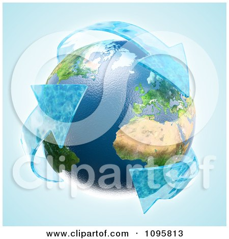 Clipart 3d Earth With Recycle Water Arrows - Royalty Free CGI Illustration by Mopic