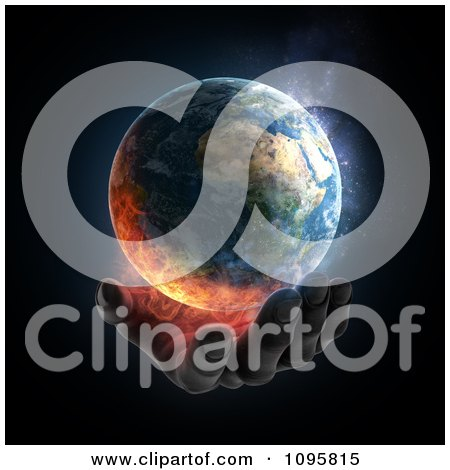 Clipart 3d Hand Under A Burning Earth - Royalty Free CGI Illustration by Mopic