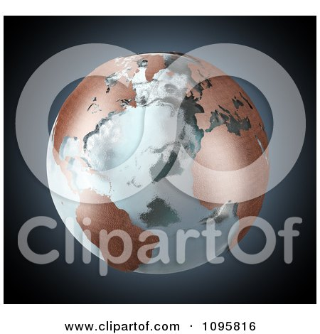 Clipart 3d Earth With Copper Continents And Icy Seas - Royalty Free CGI Illustration by Mopic