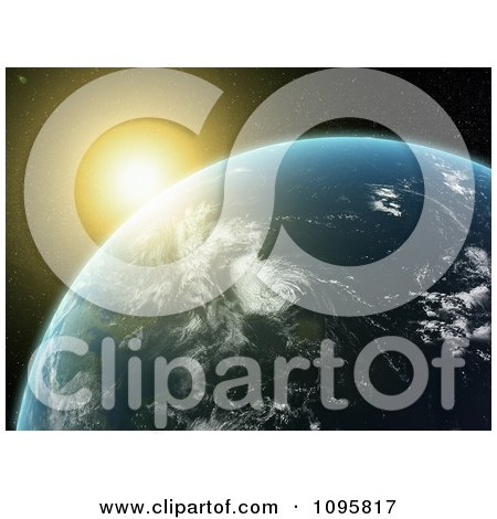 Clipart The Sun Glowing And Setting Over A 3d Earth - Royalty Free CGI Illustration by Mopic