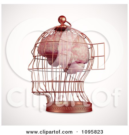 Clipart 3d Brain Trapped In A Head Shaped Cage With An Open Door - Royalty Free CGI Illustration by Mopic