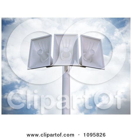 Clipart 3d Megaphone Loudspeakers On A Pole Against A Cloudy Sky - Royalty Free CGI Illustration by Mopic