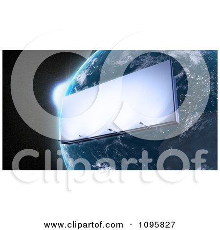 Clipart 3d Billboard Orbiting Around Planet Earth - Royalty Free CGI Illustration by Mopic