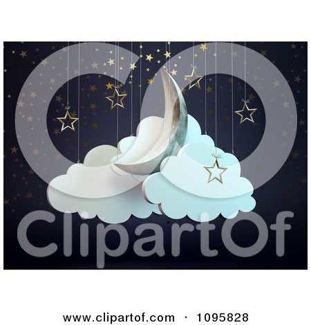 Clipart 3d Crescent Moon Star And Cloud Theater Display - Royalty Free CGI Illustration by Mopic