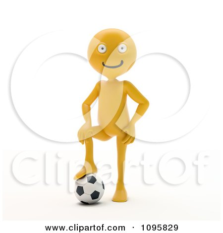 Clipart 3d Orange Man Resting A Foot On A Soccer Ball - Royalty Free CGI Illustration by Mopic