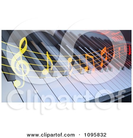 Clipart Colorful Music Flowing Over A 3d Keyboard - Royalty Free CGI Illustration by Mopic