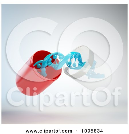 Clipart 3d Open Gene Therapy Pill Capsule With A Blue Dna Strand - Royalty Free CGI Illustration by Mopic
