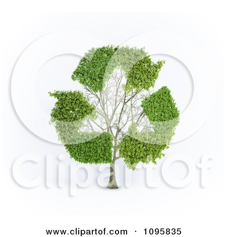 Clipart 3d Tree With Recycle Arrow Branches - Royalty Free CGI Illustration by Mopic