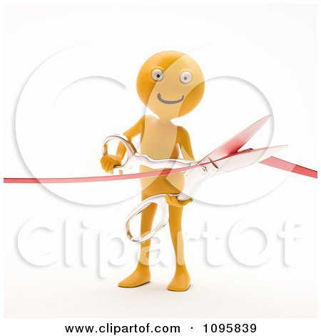 Clipart 3d Orange Man Cutting A Ribbon During A Grand Opening Ceremony - Royalty Free CGI Illustration by Mopic