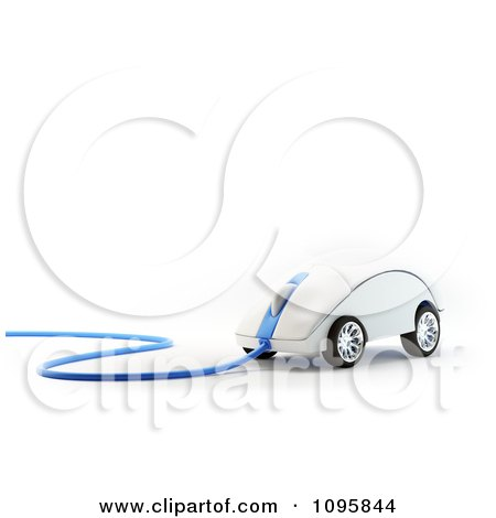 3d Computer Mouse With Wheels And A Blue Cable Posters, Art Prints