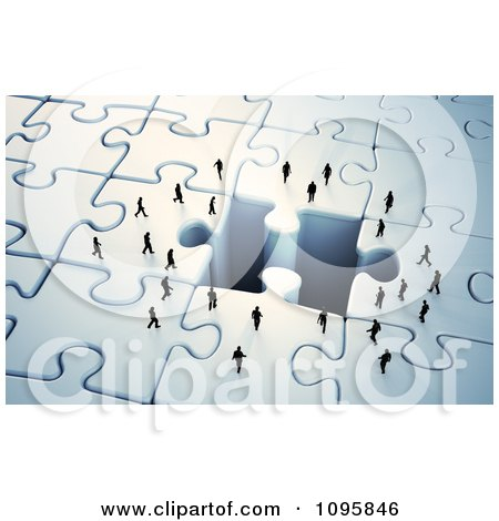 Clipart 3d Tiny Business People Approaching A Missing Puzzle Piece Hole - Royalty Free CGI Illustration by Mopic