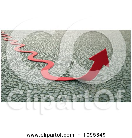 Clipart 3d Curvy Red Arrow Turning Upwards Over Cobblestones - Royalty Free CGI Illustration by Mopic