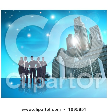 Clipart Silhouetted Business Team Standing Over A Blue Skyscraper Background - Royalty Free Vector Illustration by AtStockIllustration