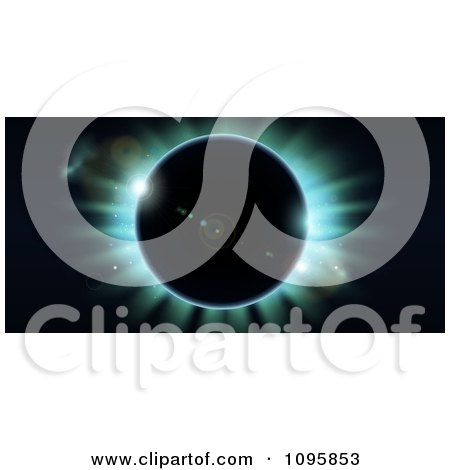 Clipart Total Eclipse With Blue Light On Black - Royalty Free Vector Illustration by AtStockIllustration