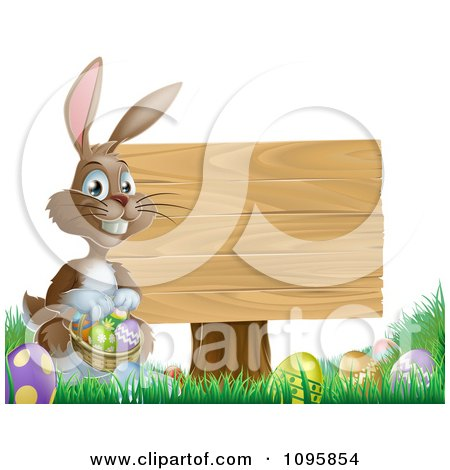 Clipart Brown Easter Bunny Holding A Basket Of Eggs By A Wood Sign In Grass - Royalty Free Vector Illustration by AtStockIllustration
