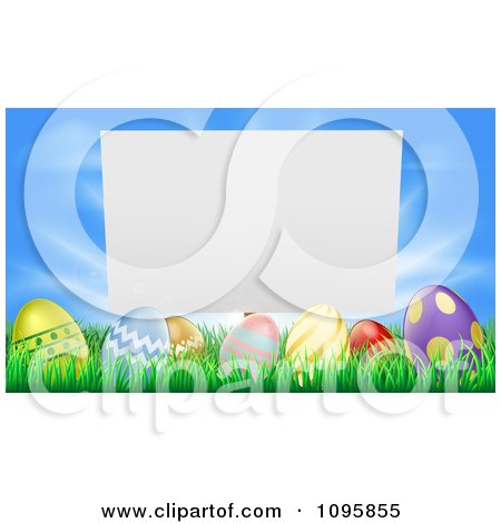 Clipart Blank Sign Over Easter Eggs In Grass Over A Blue Sky - Royalty Free Vector Illustration by AtStockIllustration
