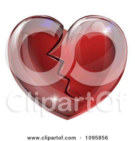 Clipart 3d Shiny Broken Red Glass Heart - Royalty Free Vector Illustration by AtStockIllustration