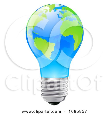 3d Blue Light Bulb With Green Continents Posters, Art Prints