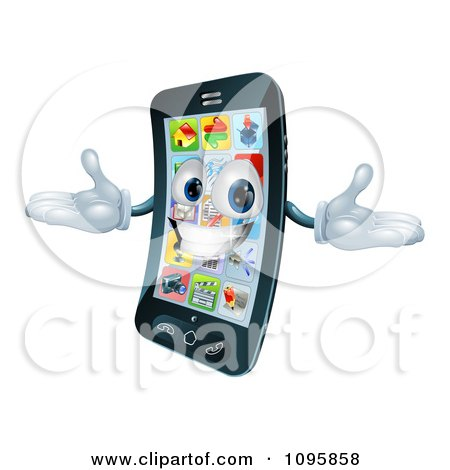 Clipart 3d Happy Cell Phone Character Holding His Arms Out - Royalty Free Vector Illustration by AtStockIllustration