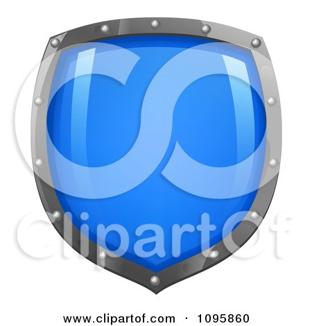 Clipart Shiny Blue Shield With Silver Edges - Royalty Free Vector Illustration by AtStockIllustration