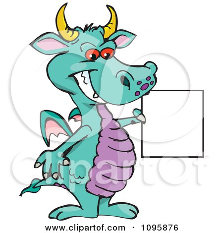 Clipart Turquoise Dragon Smiling And Holding A Sign - Royalty Free Vector Illustration by Dennis Holmes Designs