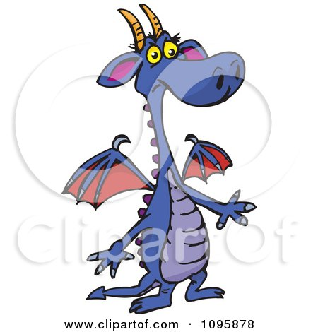 Clipart Confused Purple Dragon - Royalty Free Vector Illustration by Dennis Holmes Designs