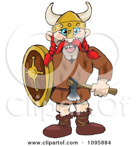 Clipart Male Raider Viking With Red Hair - Royalty Free Vector Illustration by Dennis Holmes Designs