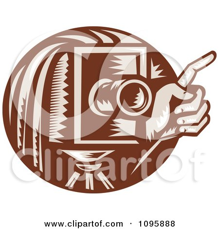 Clipart Retro Brown Box Camera And Photographers Hand Holding A Finger Up - Royalty Free Vector Illustration by patrimonio