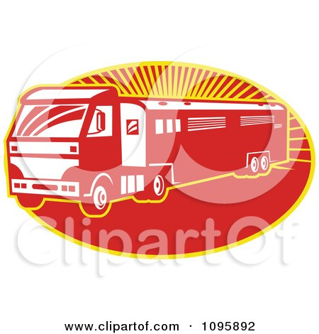 Clipart Retro Red Horse Transport Lorry Truck With A Trailer Over Rays - Royalty Free Vector Illustration by patrimonio