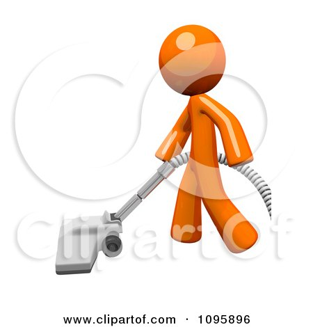 Clipart 3d Orange Man Cleaning With A Canister Vacuum 2 - Royalty Free Vector Illustration by Leo Blanchette