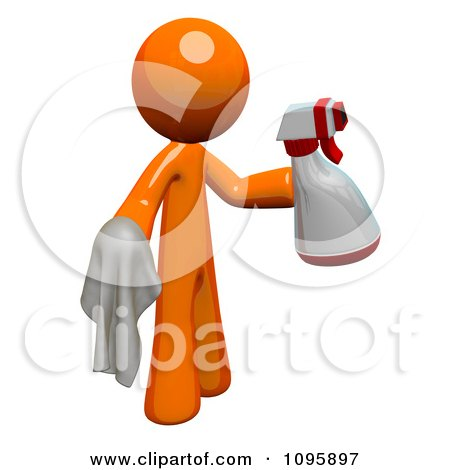 Clipart 3d Orange Man Custodian Cleaning With A Spray Bottle And Cloth - Royalty Free Vector Illustration by Leo Blanchette