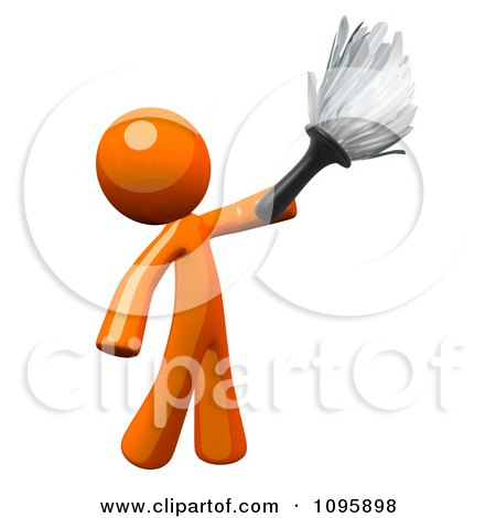 3d Orange Man House Keeper Cleaning With A Feather Duster Posters, Art Prints