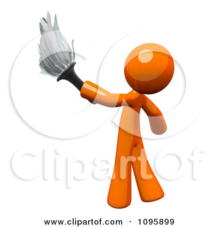 Clipart 3d Orange Man Janitor Cleaning With A Feather Duster - Royalty Free Vector Illustration by Leo Blanchette