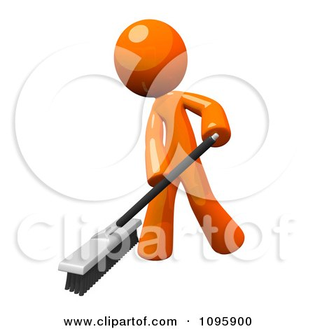 Clipart 3d Orange Man Janitor Cleaning With A Push Broom - Royalty Free Vector Illustration by Leo Blanchette