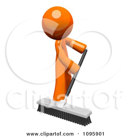 Clipart 3d Orange Man Custodian Sweeping With A Push Broom - Royalty Free Vector Illustration by Leo Blanchette