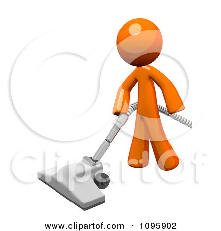3d Orange Man Cleaning With A Canister Vacuum 1 Posters, Art Prints