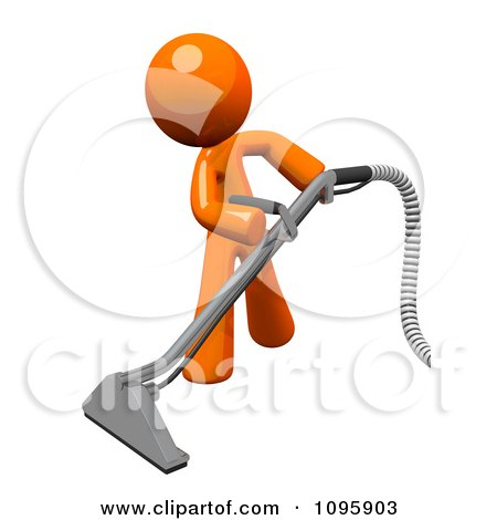 Clipart 3d Orange Man Using A Carpet Cleaner Wand 2 - Royalty Free CGI Illustration by Leo Blanchette