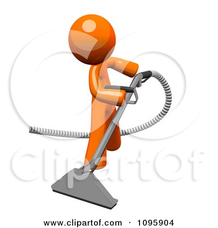 Clipart 3d Orange Man Using A Carpet Cleaner Wand 1 - Royalty Free CGI Illustration by Leo Blanchette