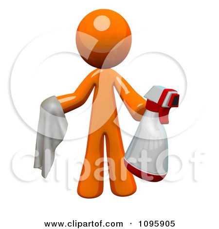 Clipart 3d Orange Man Janitor Cleaning With A Spray Bottle And Cloth - Royalty Free Vector Illustration by Leo Blanchette