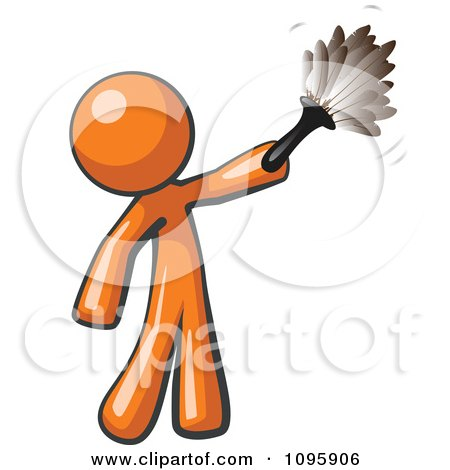 Clipart Orange Man Cleaning With A Feather Duster - Royalty Free Vector Illustration by Leo Blanchette