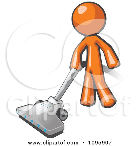 Clipart Orange Man Cleaning With A Canister Vacuum - Royalty Free Vector Illustration by Leo Blanchette