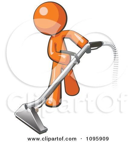 Clipart Orange Man Using A Carpet Cleaner Wand - Royalty Free Vector Illustration by Leo Blanchette