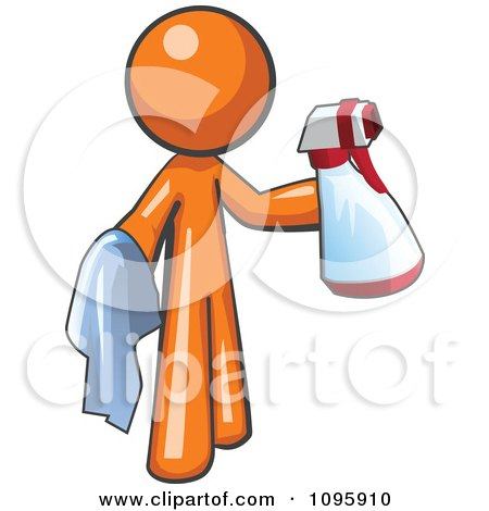 Orange Man Cleaning With A Spray Bottle And Cloth Posters, Art Prints
